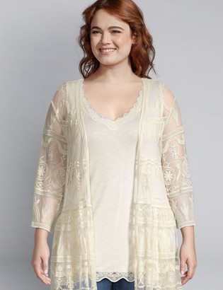 Lane Bryant Mesh Embroidered Duster Overpiece