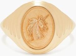 Retrouvai - Unicorn 14kt Gold Signet Ring - Womens - Gold