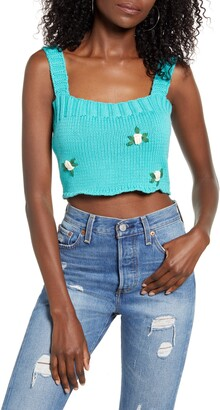 4SI3NNA the Label Lorelei Floral Crop Sweater Tank Top