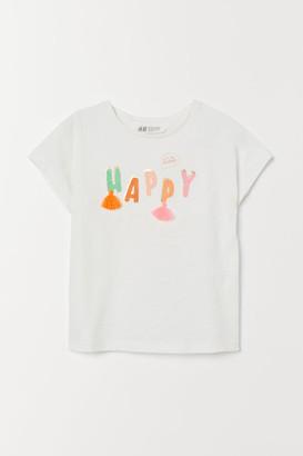 H&M Graphic-design Top - White