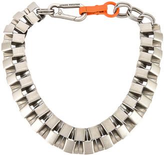 Heron Preston Cubic Necklace in Silver & Orange | FWRD