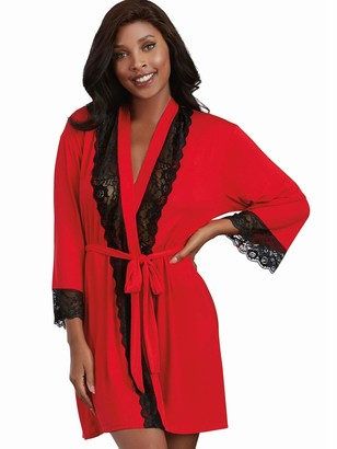 Dreamgirl Women's Soft Spandex Jersey Robe with Lace Inserts Red/Black Medium