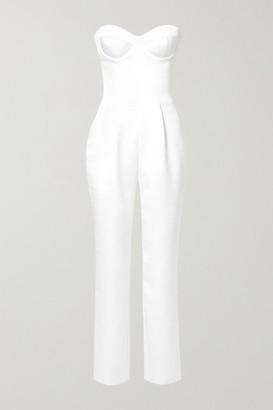 Rasario Strapless Satin Jumpsuit - Ivory