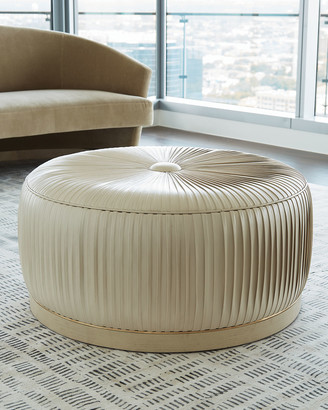 Form Design Studio By Global Views Colette Pleated Leather Ottoman