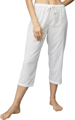 The White Company Embroidered Cotton Crop Pajama Pants