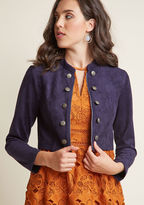 JH302261 Styling up rockin' ensembles is your main gig, which you broadcast by layering this navy blue jacket over edgy and classic looks alike! Tailed with princess seams, detailed with crest-patterned buttons framing its zipper, and cropped for added drama, this