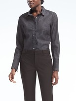 Banana Republic Riley-Fit Pleated Ruffle Denim Shirt