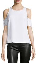 Elizabeth and James Emmett Crepe Cold-Shoulder Top, White