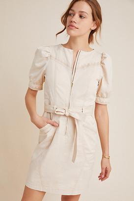 Anthropologie Lorette Seamed Mini Dress By in Beige Size 8