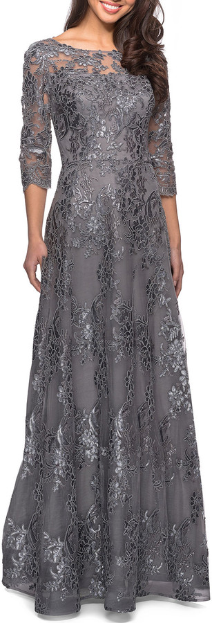 La Femme Metallic Lace Mesh-Top Gown