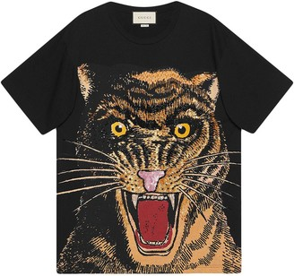 Gucci Oversized T-shirt with feline print