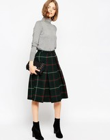 Asos Midi Skirt in Wool Check