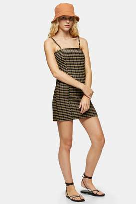 Topshop Yellow Check Cami Pinafore Mini Dress