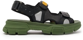 Gucci Leather And Mesh Sandals - Mens - Black