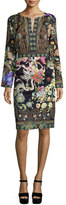 Etro Long-Sleeve Printed Sheath Dress, Black