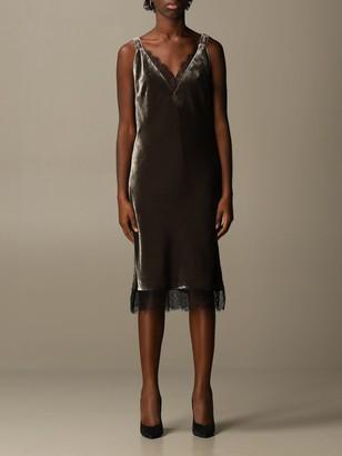 Gold Hawk V-neck Dress In Velvet And Lace