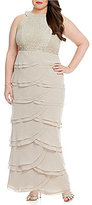 Jessica Howard Plus Lace Top and Tiered Skirt Dress