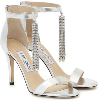 Jimmy Choo Viola 100 metallic leather sandals