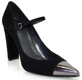 Stuart Weitzman Capsize - Black Pointed Toe Pump with Metallic Toe Cap