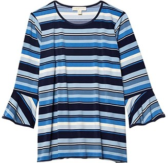 MICHAEL Michael Kors Size Court Stripe Flutter Sleeve Top (Chambray) Women's Clothing