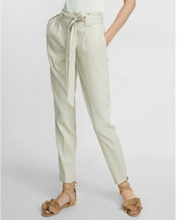 Express Petite High Waisted Linen-blend Belted Ankle Pant