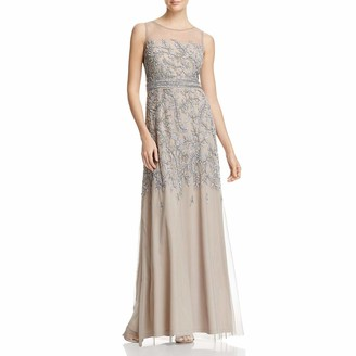 Adrianna Papell Women's Fully Beaded Long Sleevless Gown with Illusion Neckline