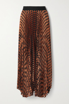 Alice + Olivia Pleated Metallic Fil Coupe Chiffon Maxi Skirt - Brown