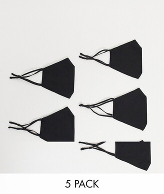 ASOS DESIGN 5 pack face coverings with adjustable straps and nose clip in black