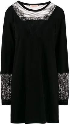 Twin-Set lace panel jumper dress