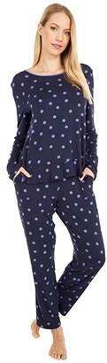 Kate Spade Modal Jersey Knit Long Pajama Set (Dancing Dot) Women's Pajama Sets