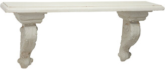 Uma Enterprises Uma Large Beige & White Floating Wall Shelf With Decorative Scrollwork