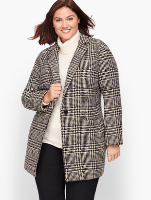 Talbots Plus Size Long Boiled Wool Jacket - Plaid