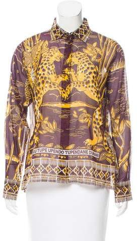 Valentino Spring 2016 Tiger Print Button-Up Top