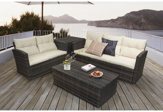Alcott Hill Kelton 4 Piece Rattan Sofa Seating Group with Cushions
