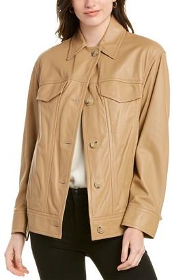 Vince Washed Leather Trucker Jacket