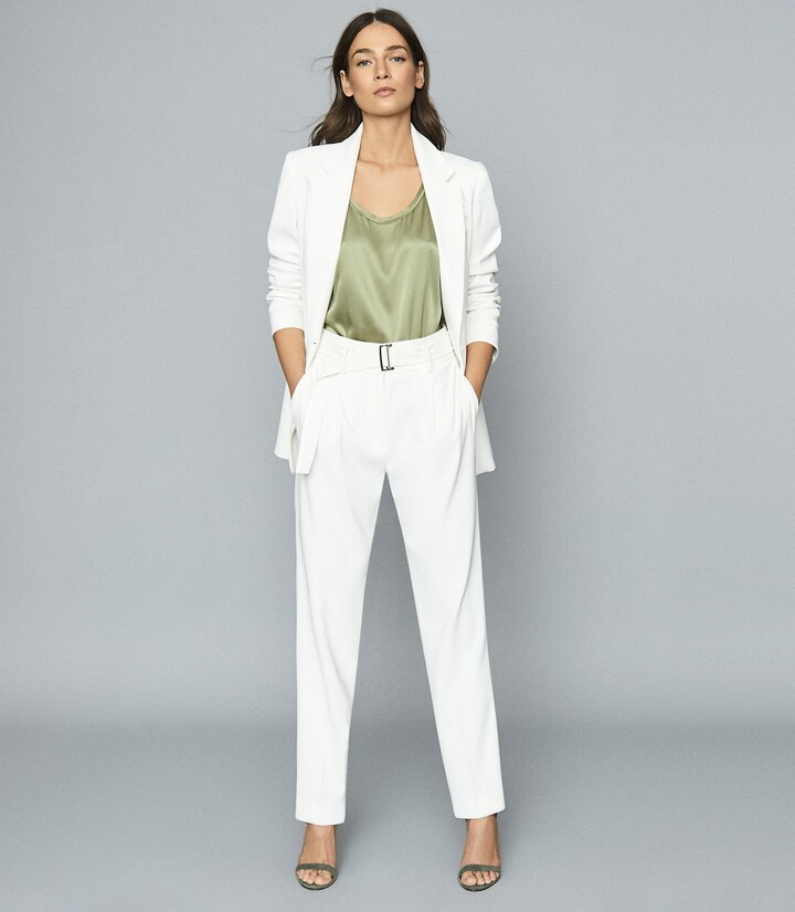 Reiss Mia - Belted Straight Leg Trousers in White
