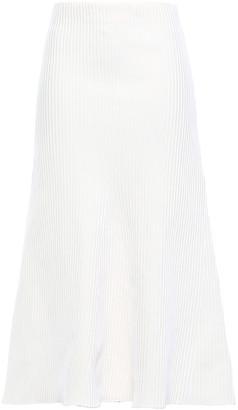 Tibi Flared Ribbed-knit Midi Skirt