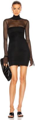 LaQuan Smith Mesh Mock Neck Dress in Black | FWRD