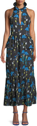 Borgo de Nor Sleeveless Halter Keyhole Butterfly & Iris Print Maxi Dress