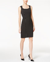 Kasper Dot-Print Sheath Dress