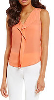 Calvin Klein Petites V-Neck Flounce Ruffle Front Blouse