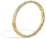 John Hardy Classic Chain 18K Gold Diamond Pavé Hinged Bangle