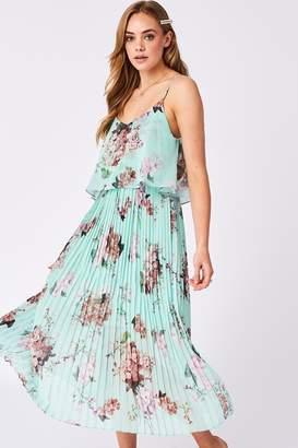 Urban Touch Mint Floral Print Pleated Cami Midi Dress