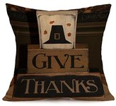 Christmas Pillow Cover, ღ Ninasill ღ Exclusive Happy Fall Thanksgiving Day Soft Linen Pillow Case Cushion Cover Home Decor (H)