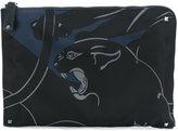 Valentino panther print document case - men - Acrylic/Polyamide - One Size