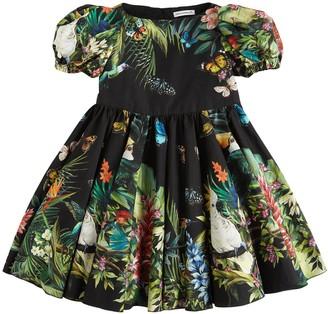 Dolce & Gabbana Jungle Print Cotton Poplin Dress