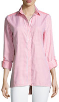 Neiman Marcus Reverse Check-Print Blouse, Pink Peony