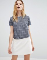 NATIVE YOUTH Woven Brushed Check Crop Blouse
