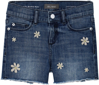 DL1961 Girl's Lucy Floral-Embroidered Cutoff Denim Shorts, Size 7-16