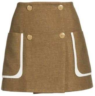 Fendi Tweed-Print Flannel Mini Skirt